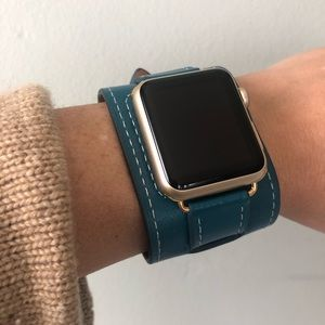 🌟GOLD Blue Apple Watch Cuff Band Strap All Series